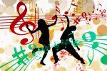 曲に合わせて踊る2人のシルエット画像